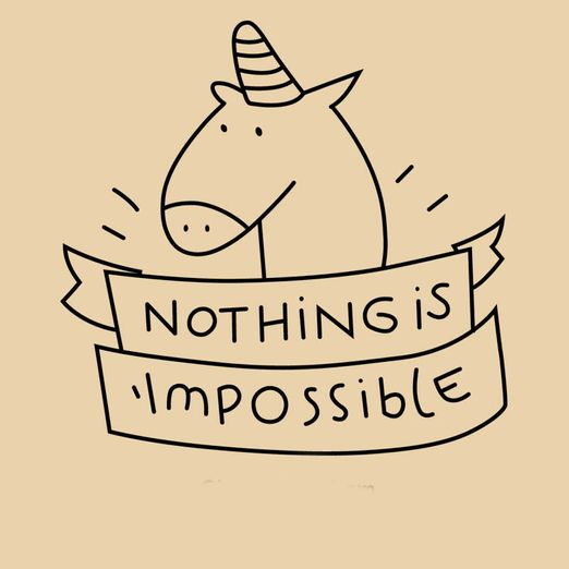 "Bügelbild Einhorn ""Nothing is impossible"""