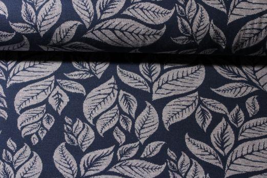 Modestoff - Jacquard Blätter Blau Grau
