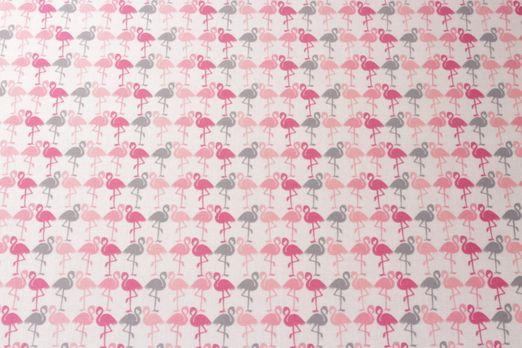 Beschichtete Stoffe - Flamingos PVC-Beschichtet Glänzend Creme Multicolor