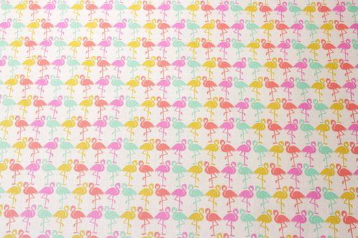 Beschichtete Stoffe - Flamingos Weiss Multicolor
