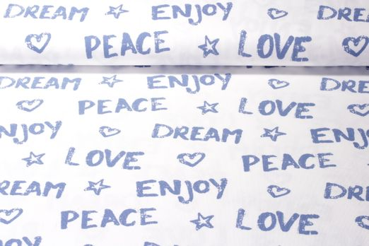 Jersey gemustert - Peace Dream Love and Enjoy Weiss Blau