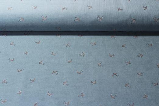 Cord - Feincord Glitterprint Schwalben Petrol Silber