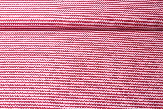 Baumwolle gemustert - Poplin Waves Weiß Rot