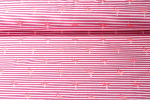 Jersey gestreift - Flamingos Neon Rosa Weiss