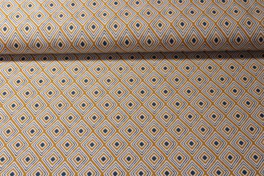 Canvas gemustert - Rauten Senfgelb Multicolor