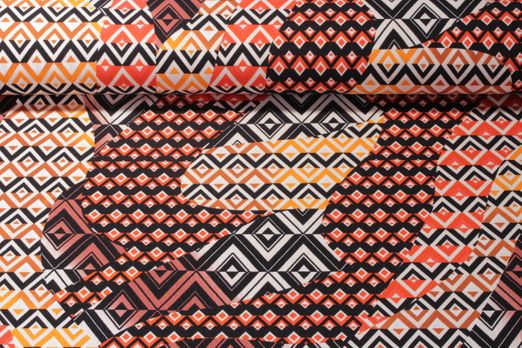 Jersey gemustert - Rautenmix Orange Multicolor