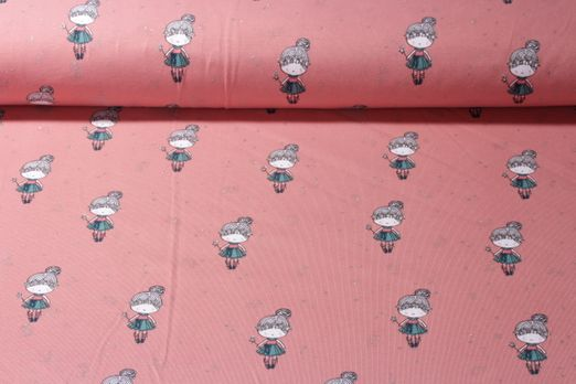 Jersey gemustert - Glitzer Girls Lachs Multicolor