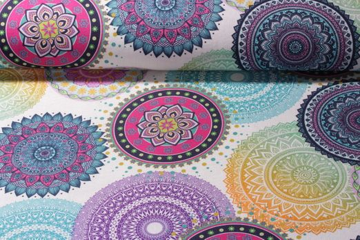 Canvas gemustert - Mandala Weiss Multicolor