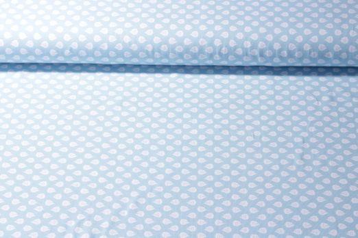 Jersey gemustert - Fische Hellblau Weiß