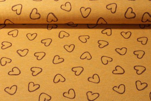 Jersey gemustert - Herzen Gelb Melange