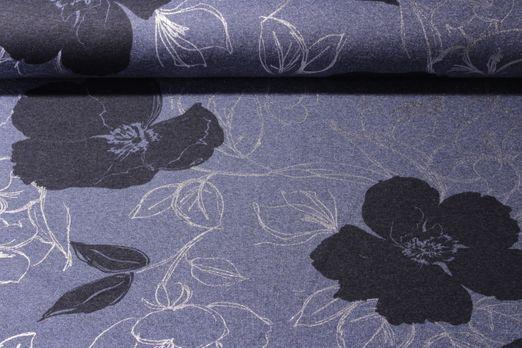 Sommersweat gemustert  - Foilprint Magnolie Blau Melange Navy Silber
