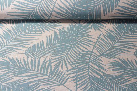 Canvas gemustert - Palmenwedel Beige Hellblau
