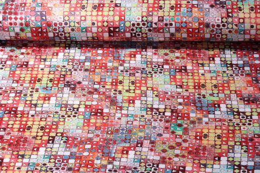 Viskosejersey - Formenmix Rot Multicolor