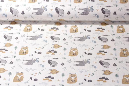 Jersey gemustert - Waldtiere Weiß Multicolor