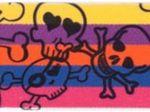 Gummiband gelb-lila-orange-blau-pink mit Totenköpfen