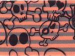 Gummiband lachs-grau mit Totenköpfen