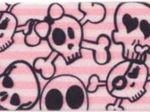 Gummiband rosa mit Totenköpfen