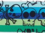 Gummiband Hell Blau-Aqua mit Totenköpfen