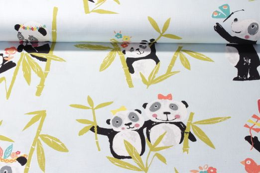 Canvas gemustert - Digital Print Panda Hellblau Multicolor