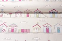 Canvas gemustert- Beach Hut Beige Pink Multicolor