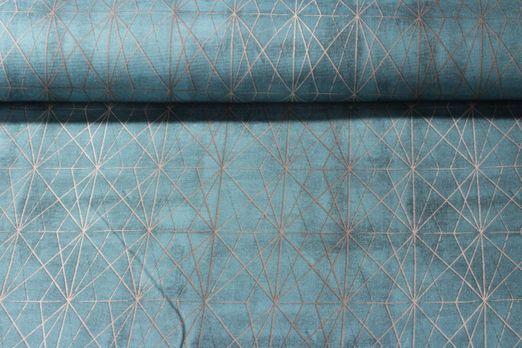 Canvas gemustert - Geogitter Petrol Gold