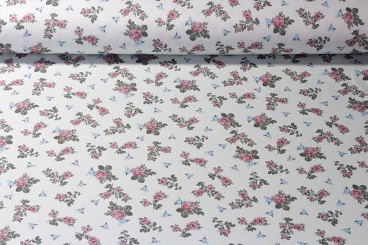 Baumwolle gemustert - Poplin Soft Rosenzauber Mint Multicolor
