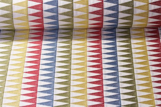 Canvas gemustert - Clarke & Clarke British Design Mix it up Stickerei Creme Multicolor