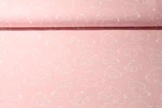 Jersey gemustert - Elefantenbabies Rosa Weiß