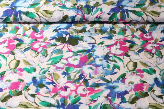 Viskose - Blumen Creme Multicolor