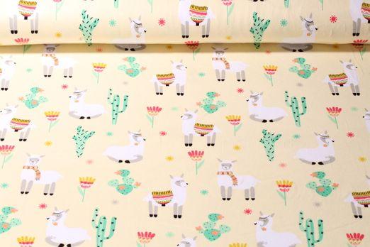 Jersey gemustert - Lamas In Der Wüste Gelb Multicolor