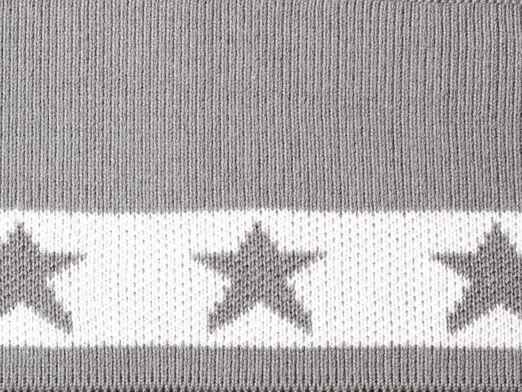 Fertigbündchen Sterne - Grau Weiß