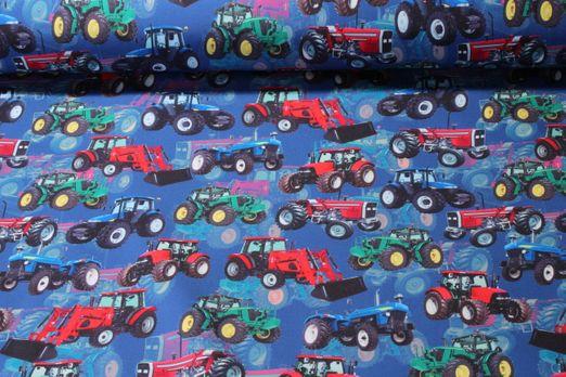 Softshell gemustert - Digital Druck Traktoren Blau Multicolor