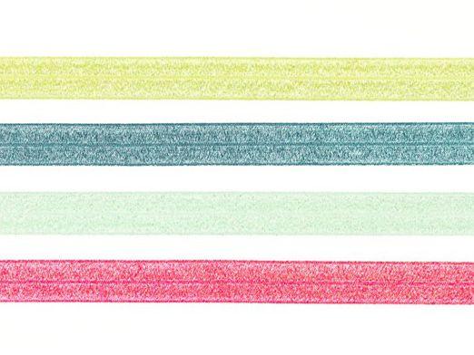 Elastisches Schrägband Falzgummi Glitzer  2m
