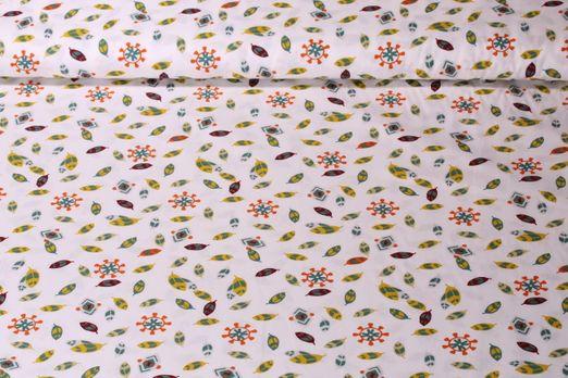 Baumwolle gemustert - Indianerfedern Weiß Multicolor