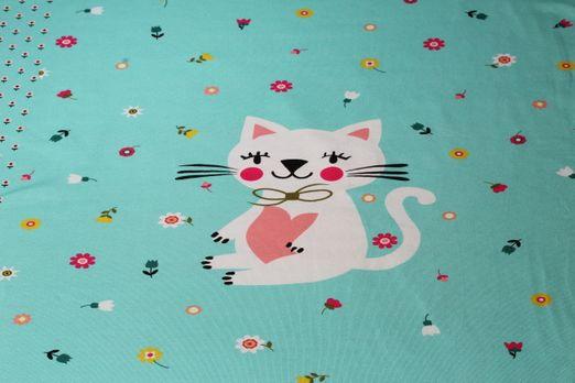 Jersey gemustert - Panel Fräulein Katze Türkis Multicolor