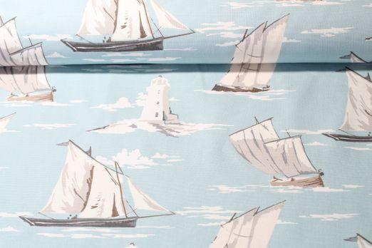 Canvas gemustert - Skipper Hellblau Weiss
