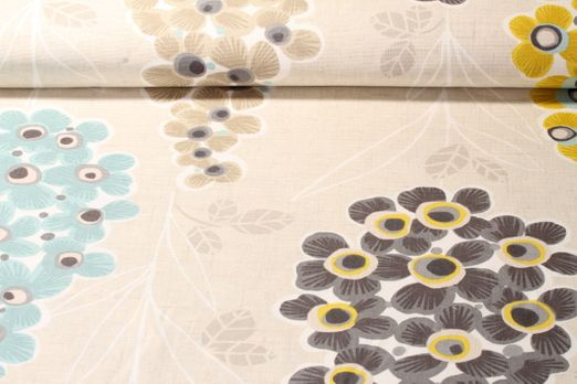 Canvas gemustert -  Flower Beige Multicolor