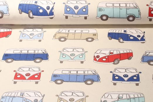 Canvas gemustert - VW Bulli Beige Blau Multicolor