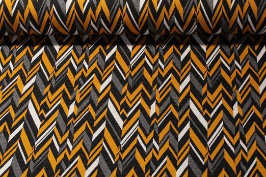 Modestoff - Jacquard Zick Zack Gelb Multicolor