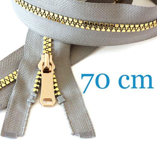 Gold metallisierter Jacken Reißverschluss teilbar 70 cm