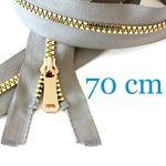 Gold metallisierter Jacken Reißverschluss teilbar 70 cm 001