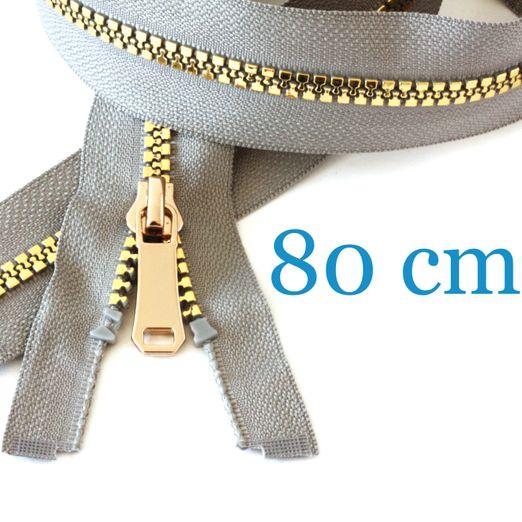 Gold metallisierter Jacken Reißverschluss teilbar 80 cm