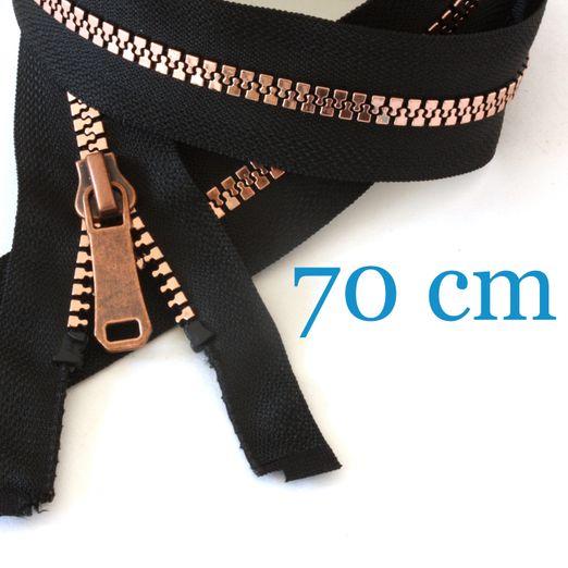 Kupfer metallisierter Jacken Reißverschluss teilbar 70 cm