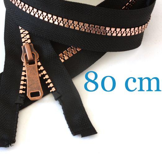 Kupfer metallisierter Jacken Reißverschluss teilbar 80 cm