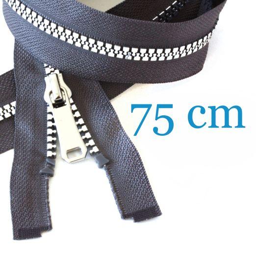 Silber metallisierter Jacken Reißverschluss teilbar 75 cm
