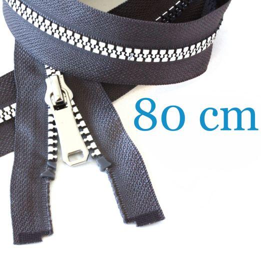Silber metallisierter Jacken Reißverschluss teilbar 80 cm