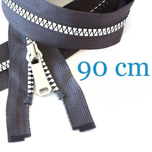 Silber metallisierter Jacken Reißverschluss teilbar 90 cm