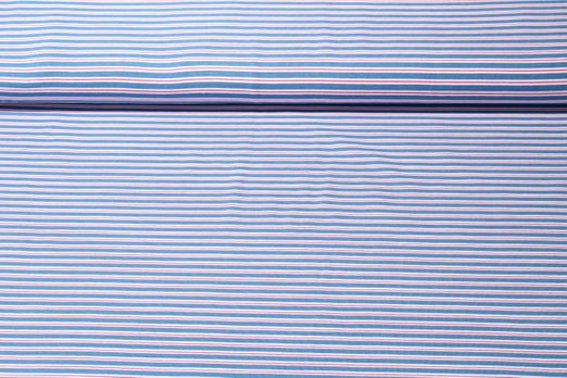 Jersey gestreift - Jeansblau Weiss Rot