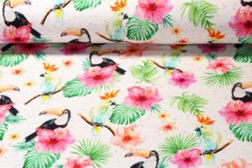 Sommersweat  - Loopback Neps Digitalprint Big Flowers Beige Melange Multicolor