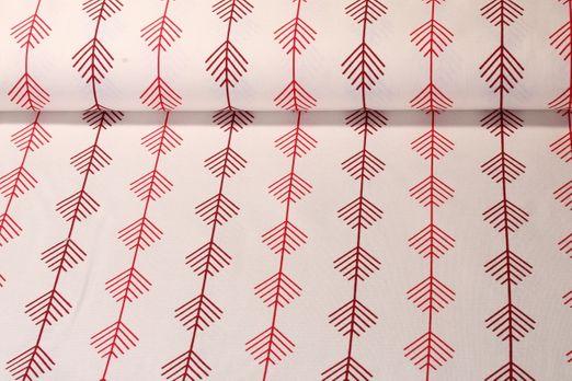 Canvas gemustert - Zweige Weiß Rot